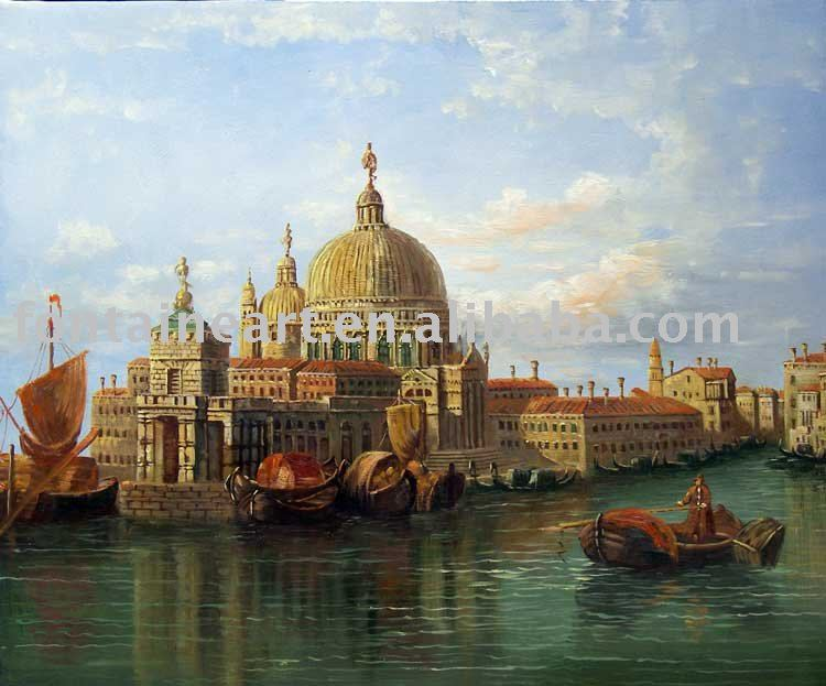 Handpainted 1800's Old Venice Italy Canal Boats Scene Oil ...