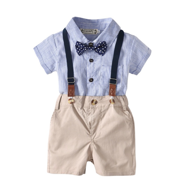 Kid Boy Gentlemen 3pcs Outfits Set 2019 Summer Newborn Boy Clothing Sets Tie+Romper Shirt+Bib Pant Infant Clothes for Party Wear(China)