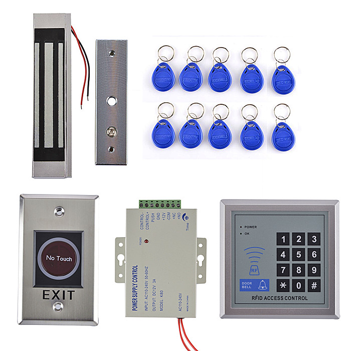 ID Card Access Control System With EM Reader Full Kit + NO Touch Door Switch+300LBS Magnetic Door lock metal rfid em card reader ip68 waterproof metal standalone door lock access control system with keypad 2000 card users capacity