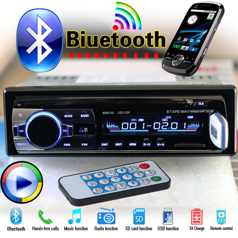 Stereo Nueva 12V del coche de Bluetooth FM Radio Reproductor de audio MP3 5V Cargador USB / SD / AUX Car Electronics Subwoofer en el tablero de 1 DIN