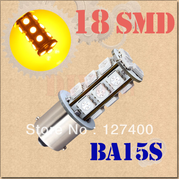 2pcs 1156 BA15S P21W 18 SMD 5050 Amber / Yellow Tail Brake Turn Fog 18 LED Car Light Bulb Lamp