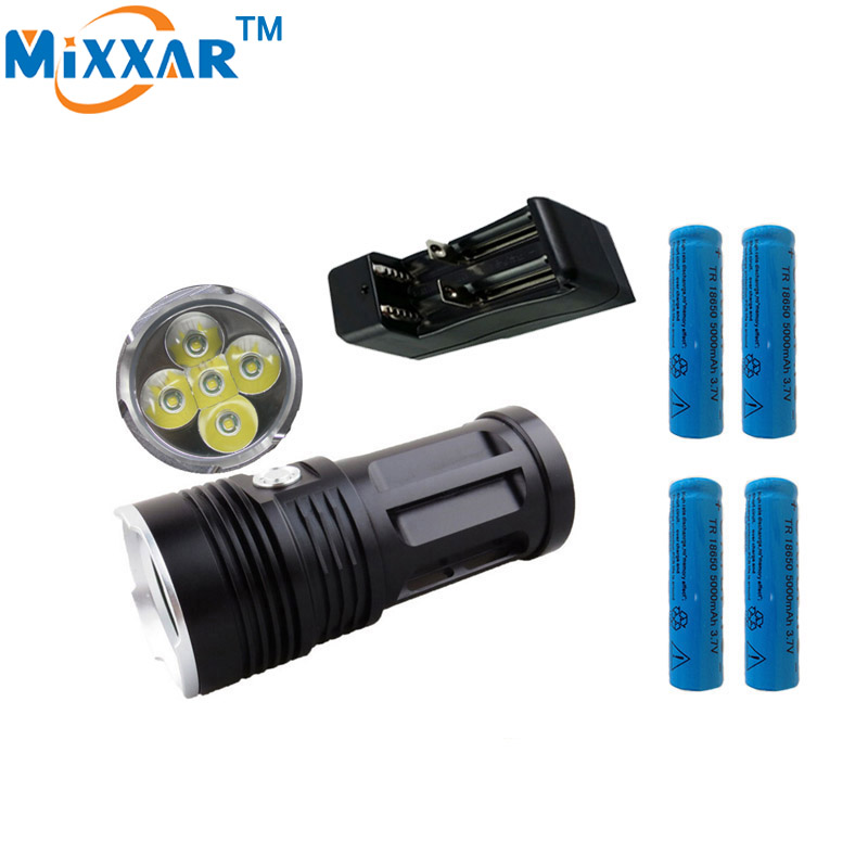 цена на ZK20 MI-5 10000LM Torch 5x Cree XM-L T6 Tactical Led Flashlight Torch And 4x18650 Battery With One Charger Can Use 2 Battery