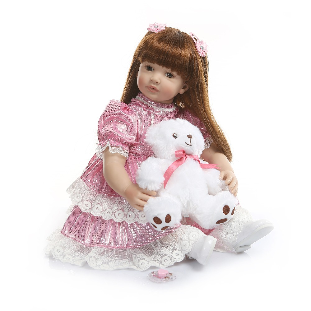 60cm Silicone Reborn Baby Doll Toy 24inch Pink Princess Toddler Girl Babies Alive Doll High Quality Birthday Gift Play House Toy60cm Silicone Reborn Baby Doll Toy 24inch Pink Princess Toddler Girl Babies Alive Doll High Quality Birthday Gift Play House Toy
