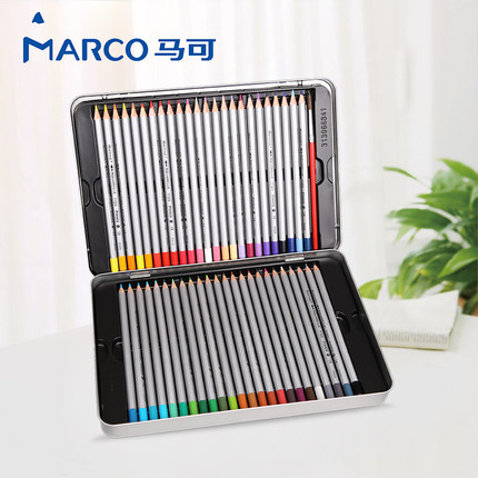 Marco Watercolor Pencils Art Colored Pencils Lapis de cor Professional Painting Drawing Art Supplies Tin box 24/36/48 color marco 48 colored pencils aquarela lapis de cor professional drawing 36 colores watercolor pencil set art school student supplies