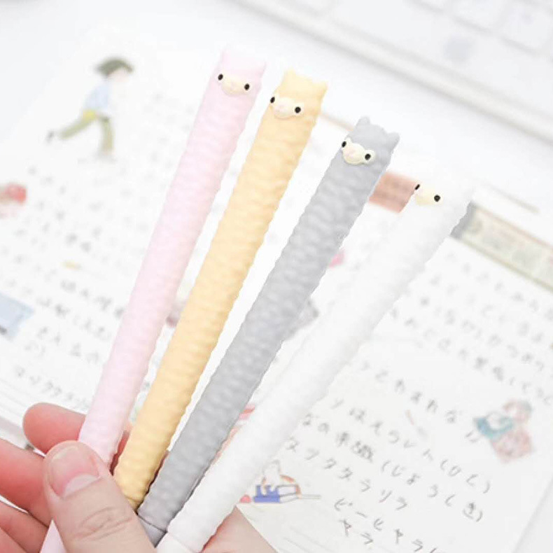 1pcs Gel Pens Kawaii Soft Alpaca Black Colored Gel-inkpens For Writing Gel Pen Cute Stationery Office School Supplies