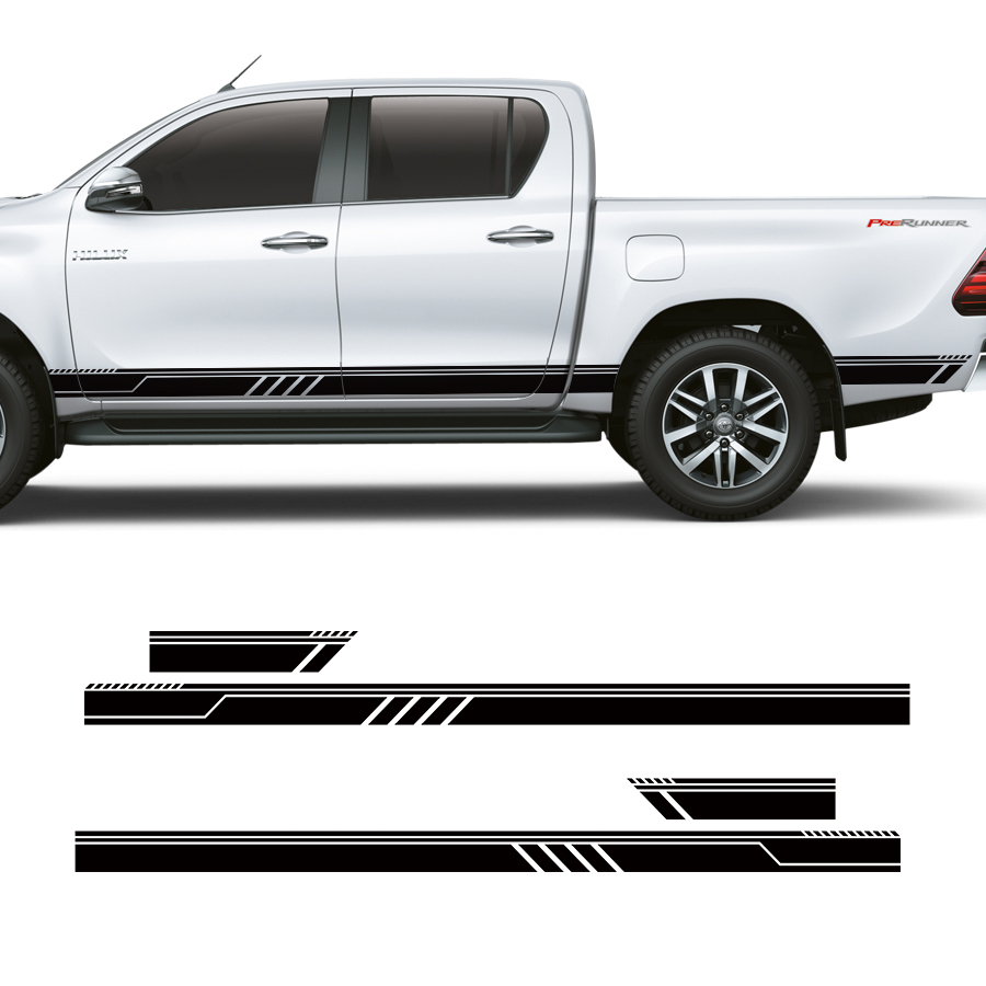 Custom car stickers 4 pc set side door racing quadrilateral stripe graphic vinyl car accessories decal for ford ranger 2012 2017 in car stickers from