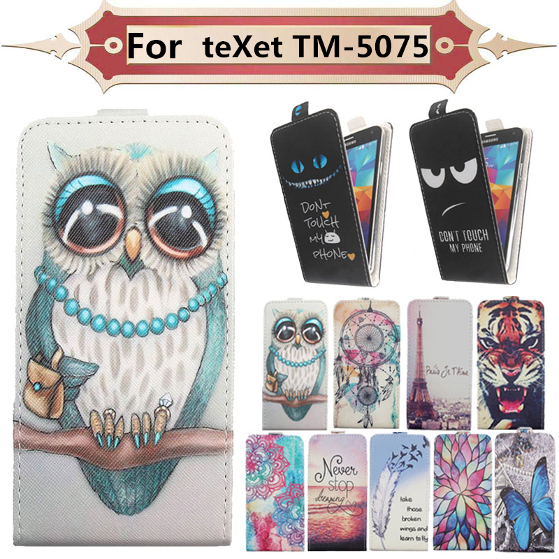 Fashion 11 Colors Cartoon Pattern Up and Down Flip PU Leather Case For teXet TM-5075