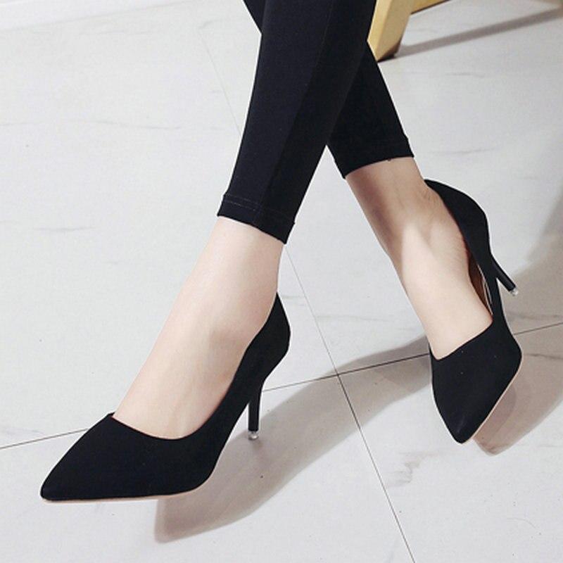 Women Pumps Leopard-Shoes Wild-Footwear Flock High-Heels Female 5-Colours Size-35-44