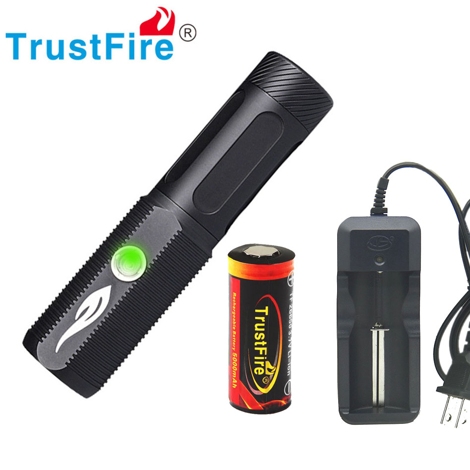 TrustFire A10 USB 2.0 Flashlight CREE L2 26650 Torch 1200LM LED torch USB Port as Power Bank with 26650 5000mAh battery lanterns
