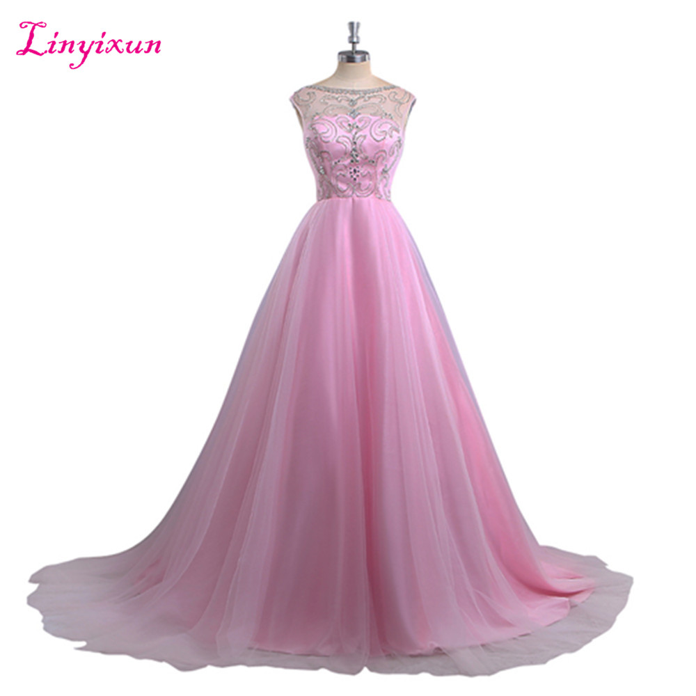 Linyixun Real Photo Pink Tulle Scoop Neck Long   Prom     Dress   2017 Chapel Train Bead Long Evening Party Gown Luxury Robe de soriee