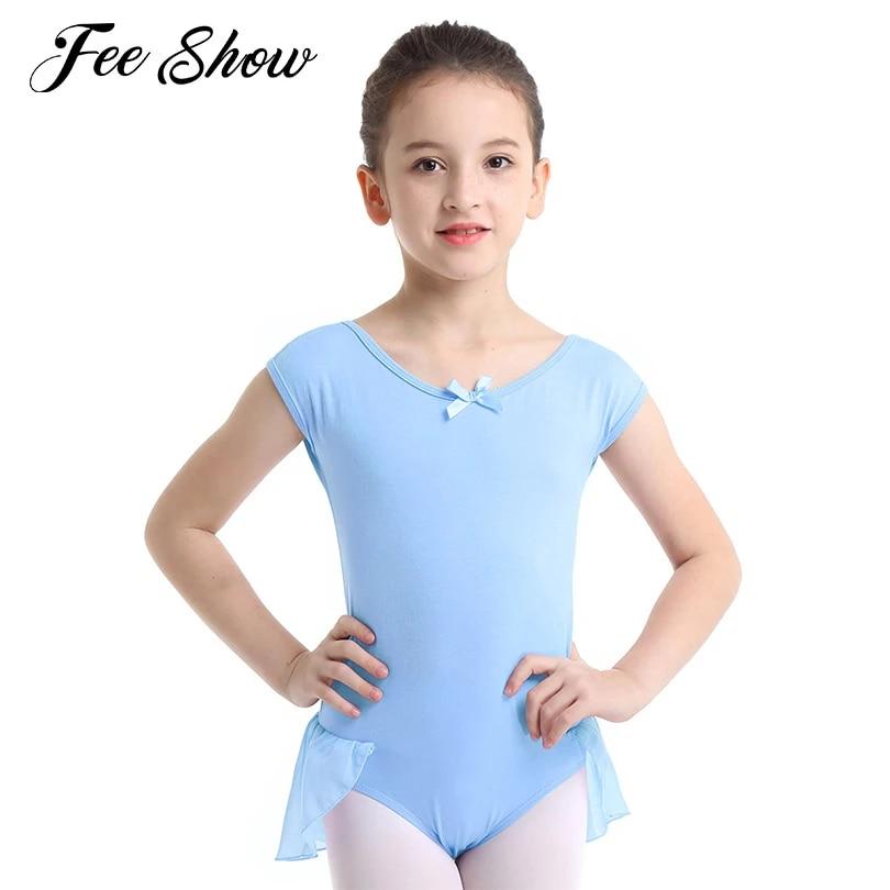 FEESHOW Girls Sleeveless Bowknot Ballet Dance Dress Gymnastics Leotards Dancer Dancewear Costume