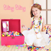 Bling Bling Girls Gift Beauty DIY Colorful Assemble Beads Pearl Jewelry Set Necklace Ring Bracelet For