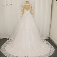Castelo real Long Train Vestido de Noiva de Renda Vestidos de Noiva 2017 V Neck Mangas 3/4 Vestidos de Casamento Vestido de Casamento Branco Boda