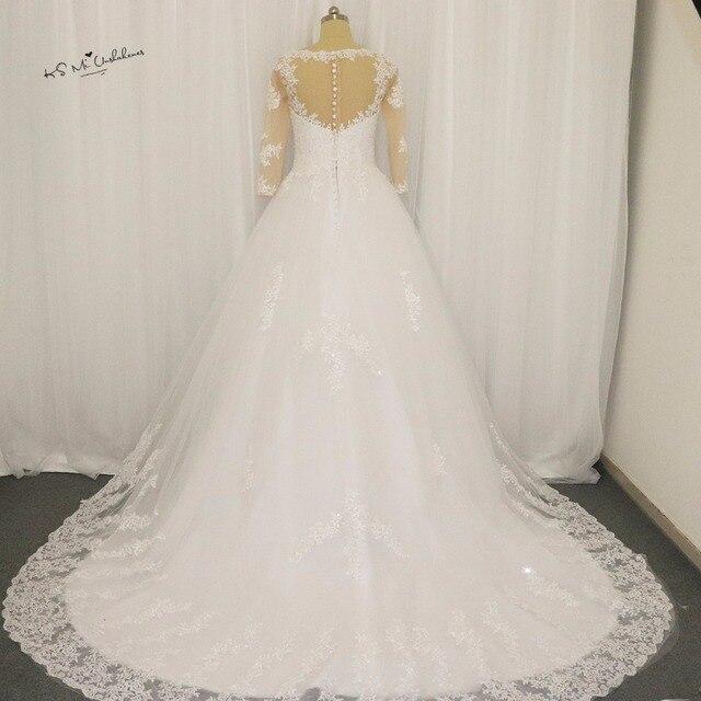 Royal Castle Long Train Wedding Dress Lace Bridal Dresses 2017 V Neck 3/4  Sleeve