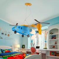 Creative Retro Children S Aircraft Lights American Pendant Light Boys Bedroom Room Cartoon Lights LED Personality