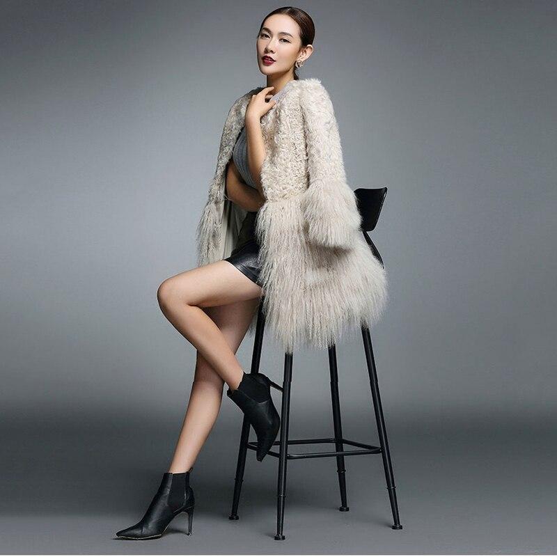 2018 nouveauté femmes véritable mouton fourrure manteau mongolie fourrure manchette hiver outwear mouton fourrure Parka Vintage mode femme fourrure veste-in Réel De Fourrure from Mode Femme et Accessoires    3