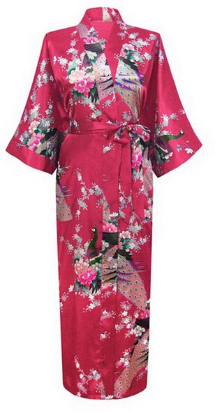 Burgundy Fashion Womens Peacock Long Kimono Bath Robe Nightgown Gown Yukata Bathrobe Sleepwear With Belt S M L XL XXL XXXL