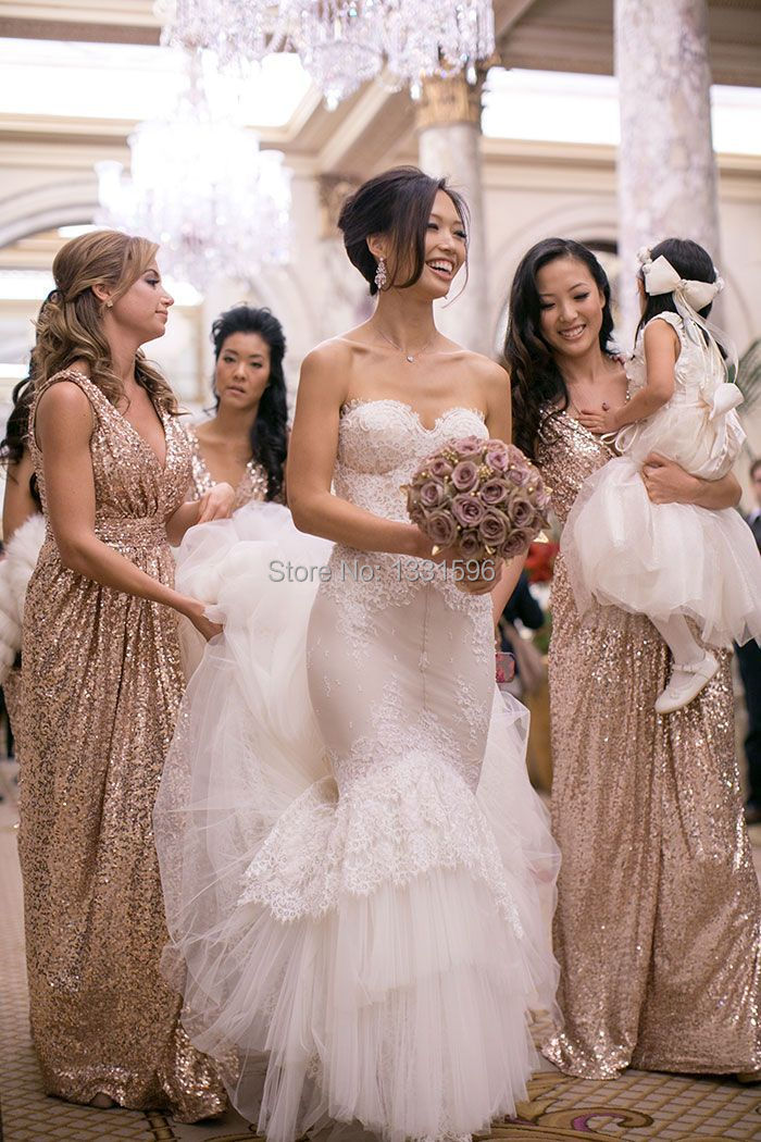 Gorgeous Sequins Gold Bridesmaid Dresses Shiny Long Formal Y Dress To Party Deep V Neck Floor Length Spaghetti Strap In From Weddings