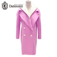 Dabuwawa Için Gül Pembe Moda Trençkot Kadın Kış Coat Kapşonlu Kadın Casual Kaşmir Ceket