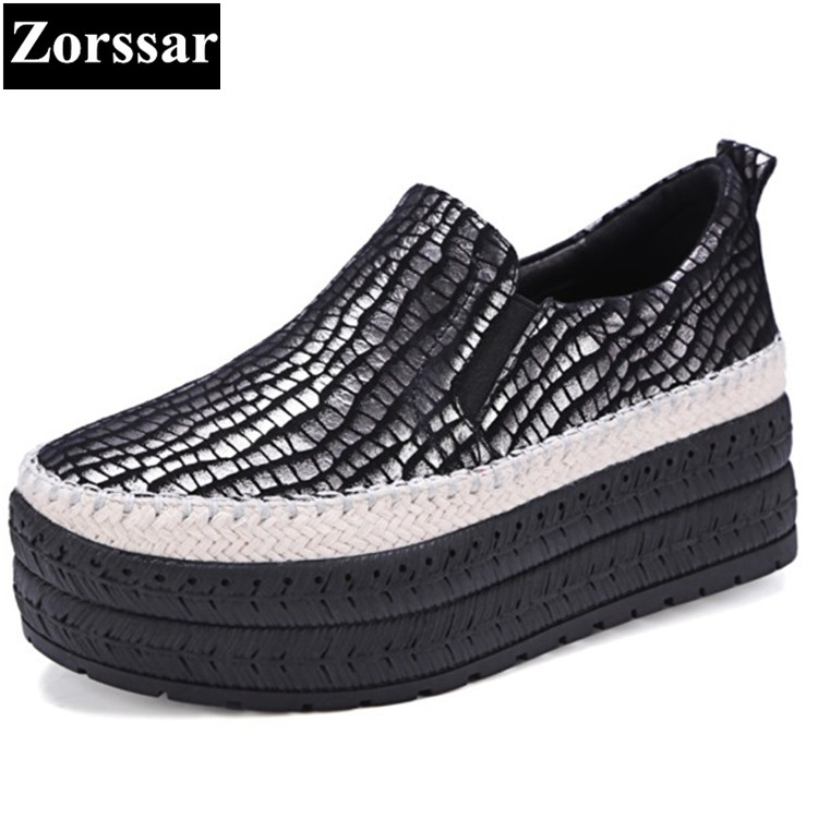 {Zorssar}2017 New Fashion Serpentine Style Womens Creepers shoes Female Casual shoes Women Platform Loafers woman Flats shoes phyanic 2017 gladiator sandals gold silver shoes woman summer platform wedges glitters creepers casual women shoes phy3323
