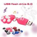 Venda quente USB flash Drive de 64 GB pata Do Gato Dos Desenhos Animados Pen drive pendrive 32 GB Pendrive USB Stick USB Flash Drive 64 GB USB Flash Key cadeia