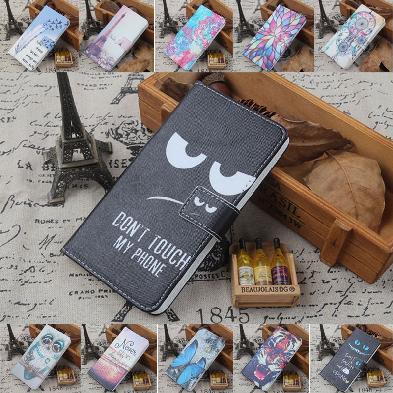 For BQ BQ-5004G Fox China Mobile A4S A3S DEXP B340 Doogee N10 Y8c Geecoo G1 3G PU Painted flip cover slot phone case image