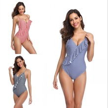 LKlady One Piece Swimsuit 2019 Sexy V Neck Printed Bikini Female High Waist Swimwear Women Bathing Suits Summer Beach Wear