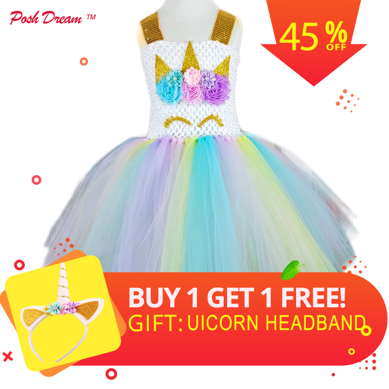 POSH DREAM Kids Girl Unicorn Dress for Cosplay Party Rainbow Color 1st Birthday Party Tutu Dresses Children Cosplay Costume Set купить в Москве 2019