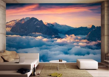 Photo Wallpaper Modern 3D Mountains and clouds Mural Living Room Bedroom TV Sofa Backdrop Wall Walpaper 3D beibehang mural wall paper modern three dimensional living room bedroom tv backdrop swiss alps scenery 3d photo wallpaper roll