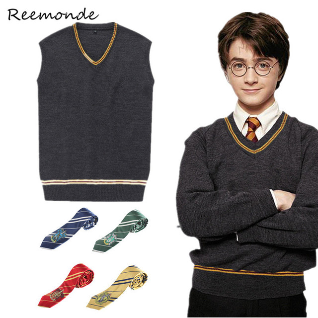 Adult Sweater Gryffindor Slytherin Cosplay Costume Sweater With Tie Waistcoat Vest Black all-match Daily Clothes Men Boys Girls
