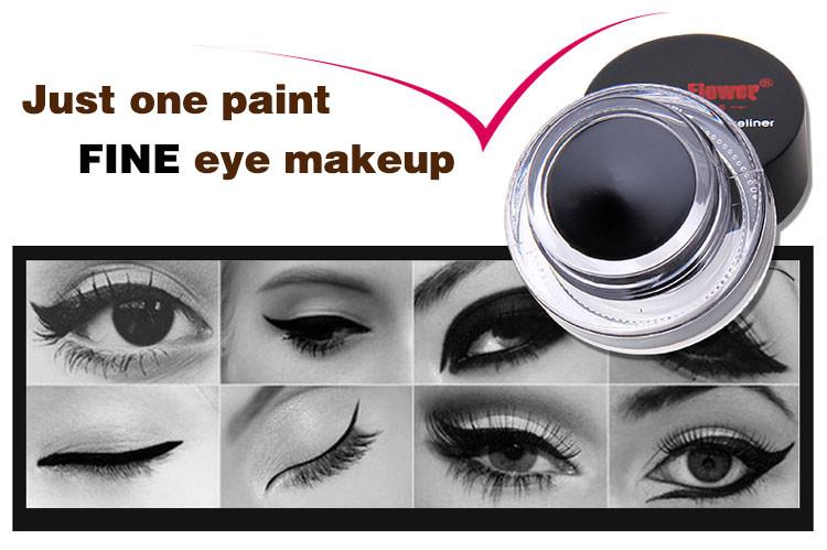 Music Flower 2 in 1 Coffee + Black Gel Eyeliner Make Up Waterproof Eye Liner Cosmetics Set Eyeliner Pens Makeup Brushes Set (5)