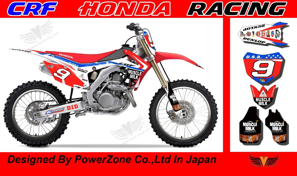 CRF 250 450 2014 MUSCELE MILK Team Graphics Backgrounds Decals Stickers Motor cross Motorcycle Dirt Bike MX Racing Parts