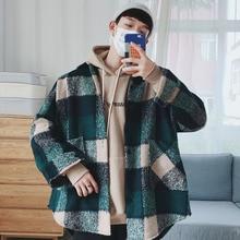 Клетчатая рубашка Мужская модная повседневная свободная шерстяная куртка пальто Мужская Осенняя новая уличная мужская одежда высокого качества рубашка с длинным рукавом