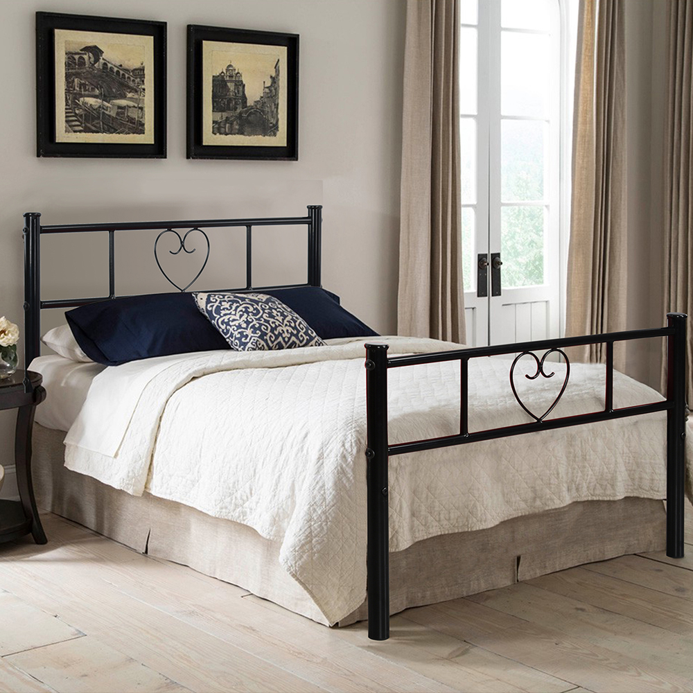 aingoo black 3ft single metal bed frame heart shape lovely sturdy bedstead for teens adults with 2 headboards twin size bedframe - Cheap Single Bed Frames