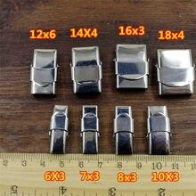 10 pçs/lote Aço Inoxidável Fechos para Pulseira de couro Cordão de Couro Liso de Metal Colar Fim Fechos Conector Fazer Jóias