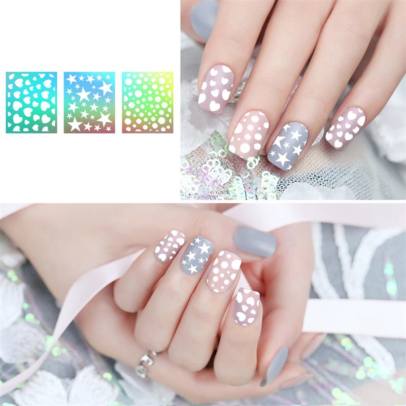 15 ETEREAUTY DIY Nail Art Hollow Stencil Sticker 30 Different Designs Easy Sheet Decals Stickers