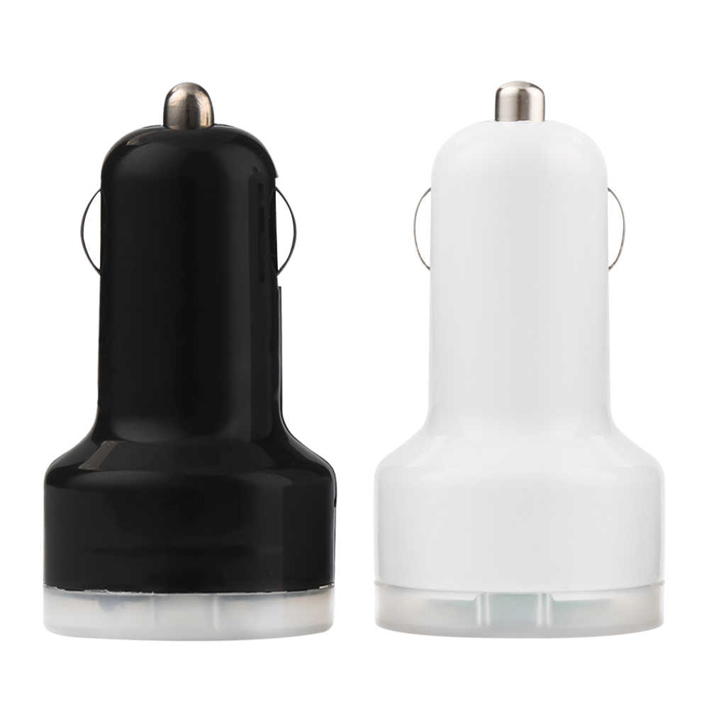1 piece Micro Auto Universal Dual USB Car Charger A Adapter For iPhone Android Mini Charger Cigar Socket For Mobile Phone