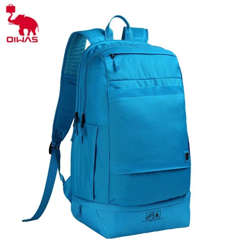 2018 NEW Oiwas Brand Waterproof Blue School Travel Backpack Multifunction Casual Laptop Notebook Large Men Male Shoulder Bag цена и фото