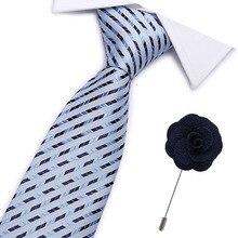 2019 Men`s Tie 100% Silk Jacquard Woven Necktie Brooch Sets For Formal Wedding Business Party neck tie suit 7.5cm width