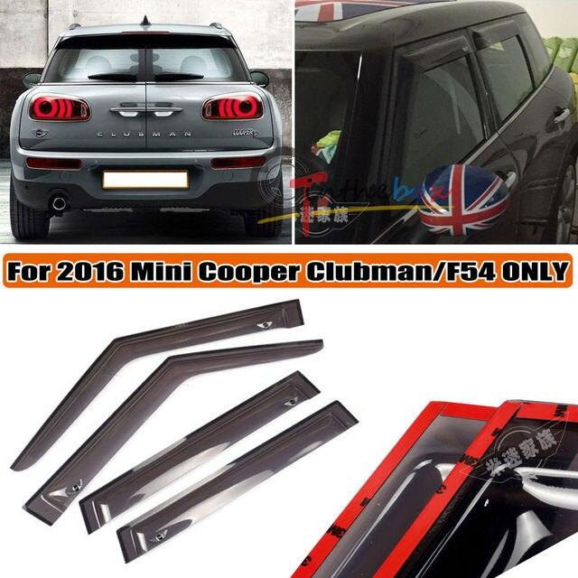 4x Window Rain Guard Acrylic VENT VISOR Eyebrow for 2016 MINI COOPER Clubman F54