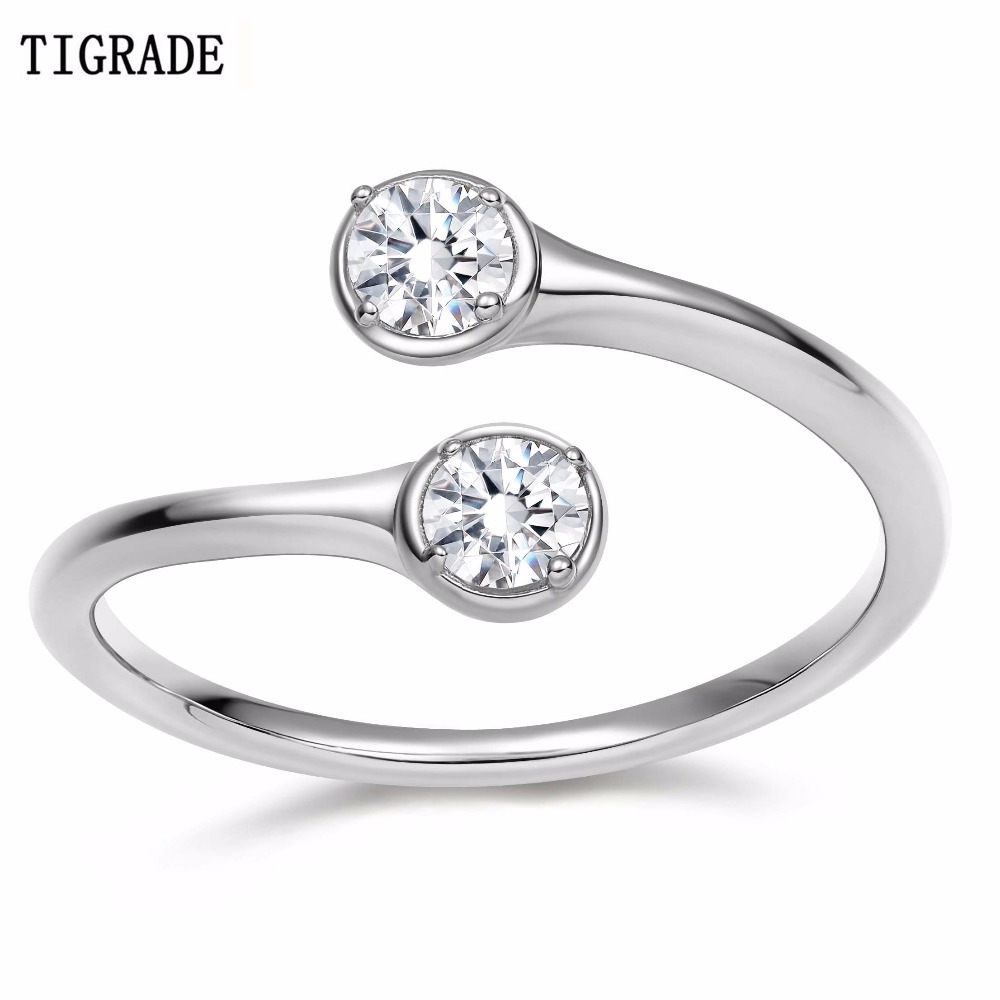 TIGRADE Crystal Rings For Women Adjustable Engagement Ring 100% 925 Sterling Silver Cubic Zirconia Jewelry
