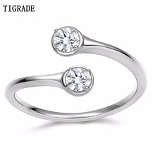 TIGRADE Crystal Rings For Women Adjustable Engagement Ring 100% 925 Sterling Silver Cubic Zirconia Ring Jewelry colorfish three stone silver engagement rings prong set princess cut sona cubic zirconia ring women 925 sterling silver ring