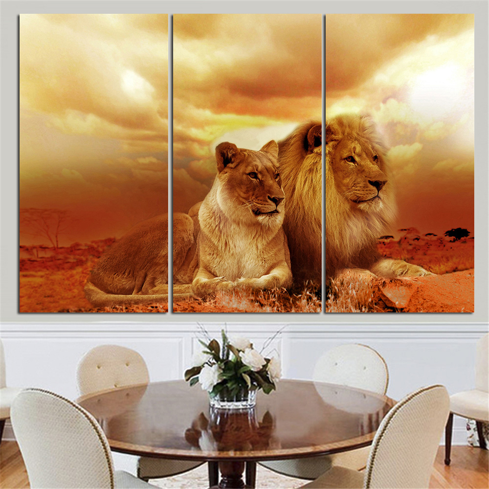 no frame animal oil painting lion king posters wall art. Black Bedroom Furniture Sets. Home Design Ideas