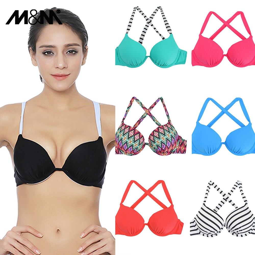 M & M Women Bikini Top Sexy Push Up Swim Reggiseno Halter Solid - Abbigliamento sportivo e accessori