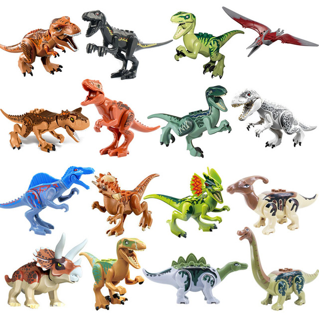 Jurassic Dinosaur Set Building Block Toy Figure Indoraptor Velociraptor Triceratop T-Rex World Dino Brick Compatible with lego