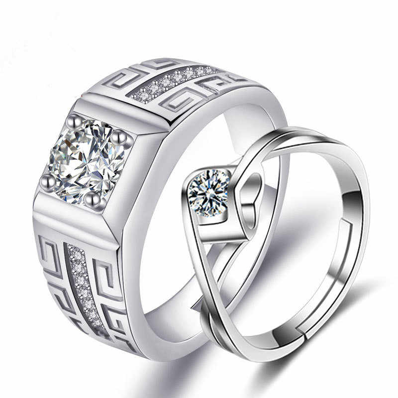Fashion Jewelry Inlay Cubic Zircon Adjustable Couple Rings For Men Women Lovers
