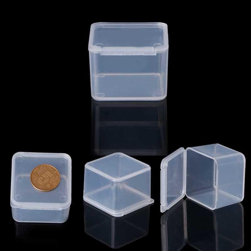 البلاستيك مربع واضح البلاستيك حاويات خرز للمجوهرات تخزين حلقة صندوق أقراط قلادة قلادة منظم امرأة المكياج الجدول صندوق