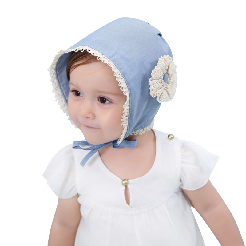 Flower Lace Baby Girls Hat Korea Princess Bucket Hat Cute Cotton Baby Beanie For Girls Blue Toddler Girls Sun Hat Caps Autumn