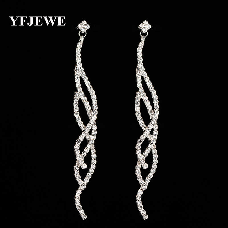 Yfjewe Baru Fashion Crystal Anting-Anting untuk Wanita Berlian Imitasi Super Lama Anting-Anting Fashion Perhiasan Drop Anting-Anting Hadiah Pesta E388