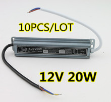 10 PCS/LOT high quality 12V waterproof led driver IP67 20W adapter light transformer 1.67A power charger for leds